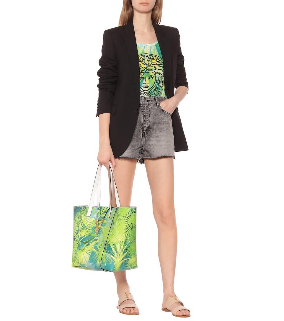 Shopper Virtus A Stampa In Pelle - Versace