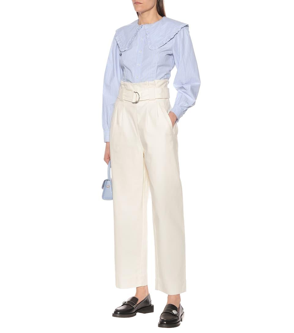 Ganni - Striped cotton poplin shirt