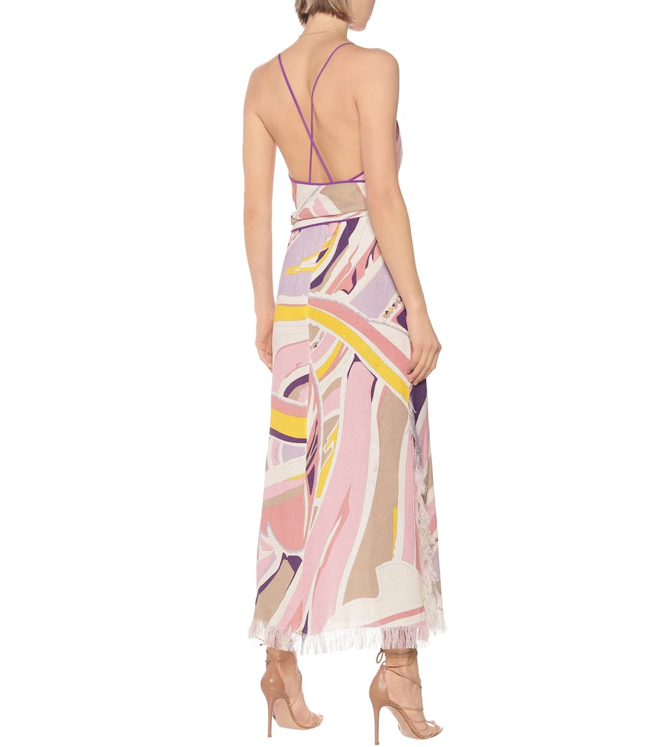 Printed Linen Maxi Dress - Emilio Pucci