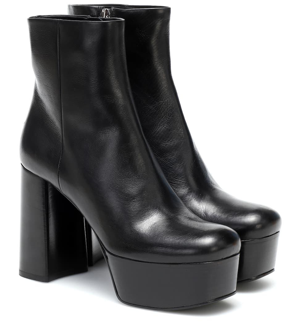 Leather Platform Ankle Boots   Prada