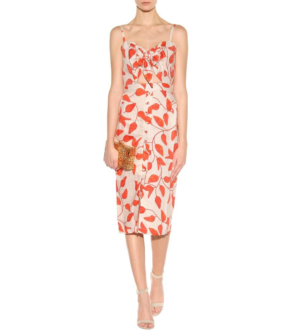 JOHANNA ORTIZ Leaf-Print Linen Tie-Front Cami Dress, Red/White