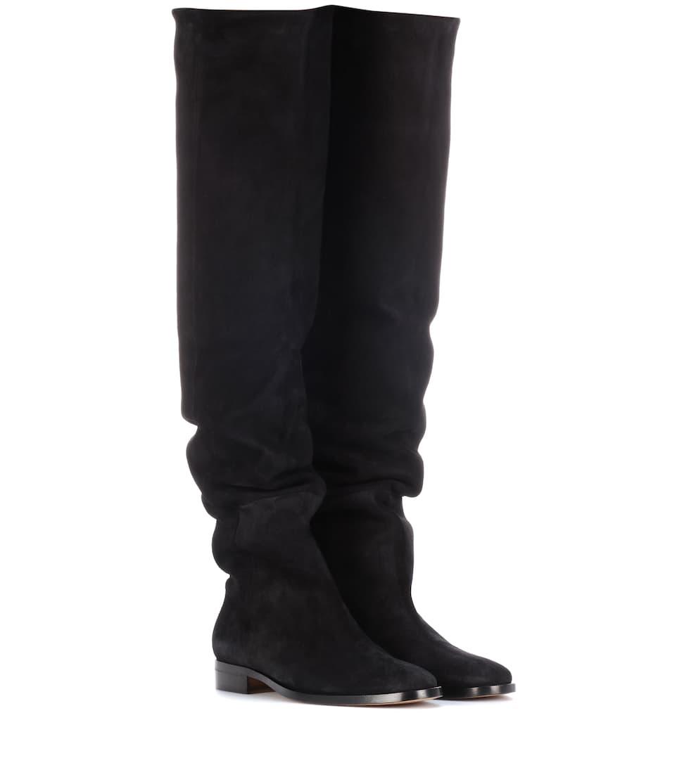 Saint Laurent Overknee-Stiefel aus Veloursleder Niedriger Versand Günstig Online Online Kaufen Verkauf Besten Preise Laden Verkauf Verkaufskosten 48rMwW