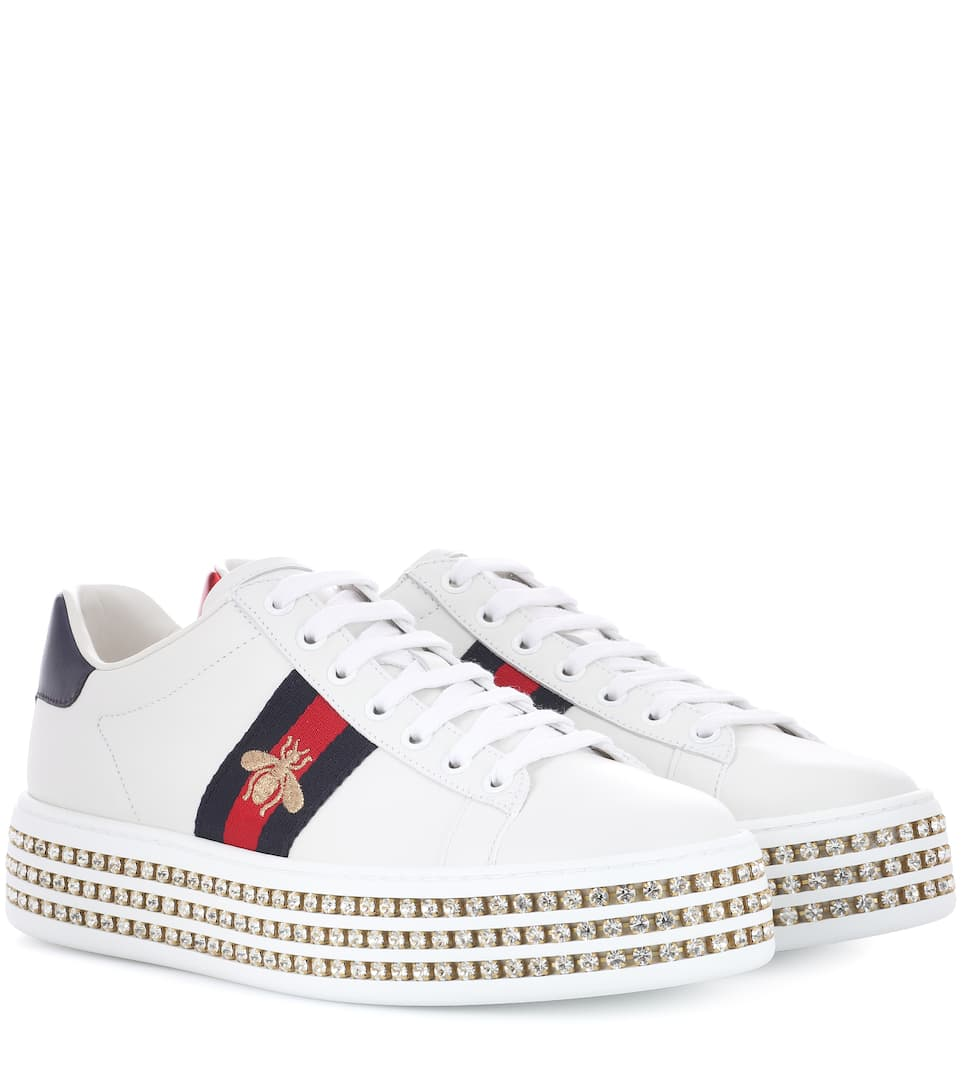 cfa02e451 Ace Platform Leather Sneakers - Gucci | mytheresa