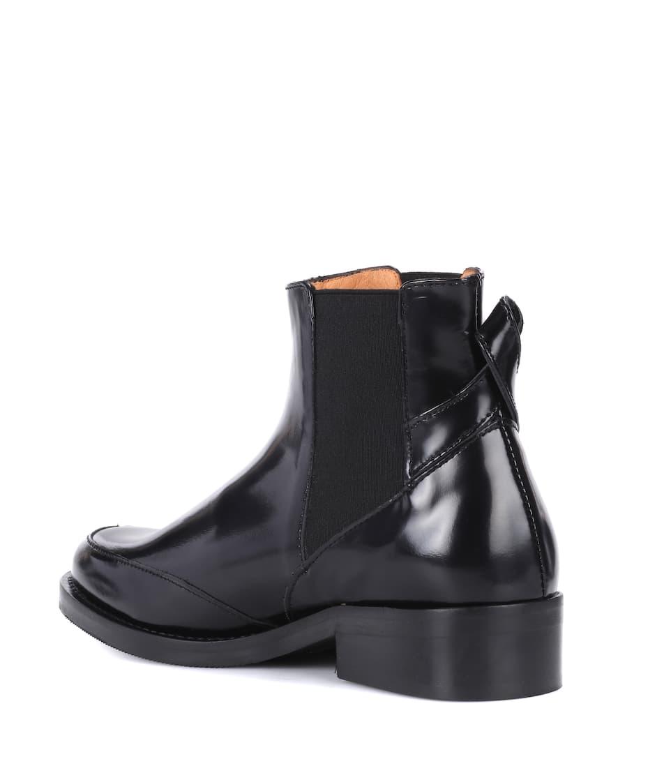 Ganni Ankle Boots Violet aus Leder