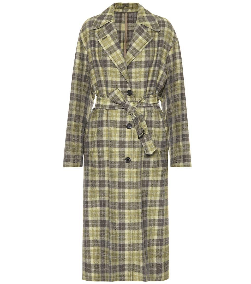 Plaid cotton-blend coat
