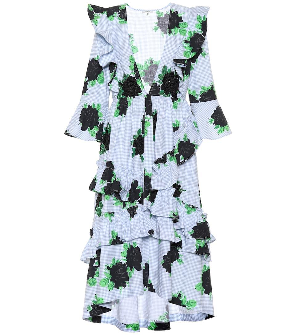 Ganni Pine ruffled cotton dress Serenity Blue Free Shipping Cheap Real 6DvJWM