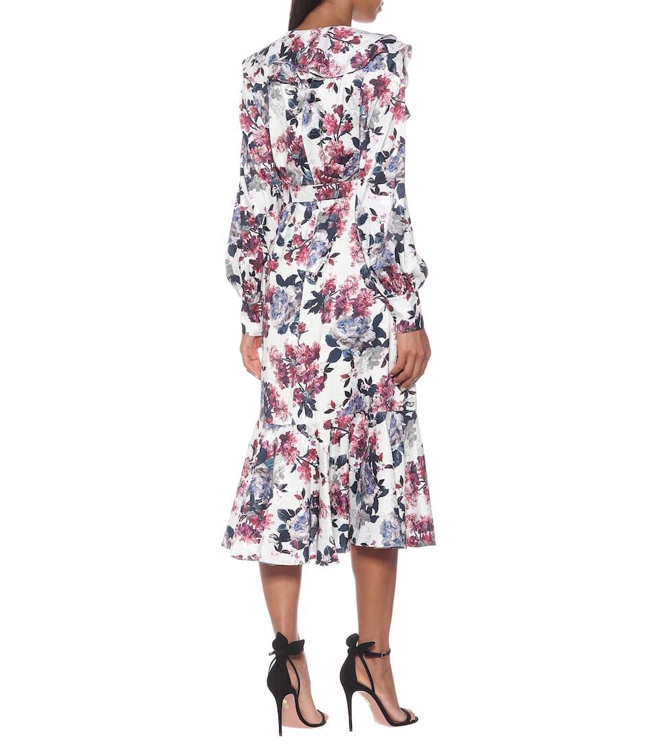 Erdem - Jerridine satin-jacquard wrap dress