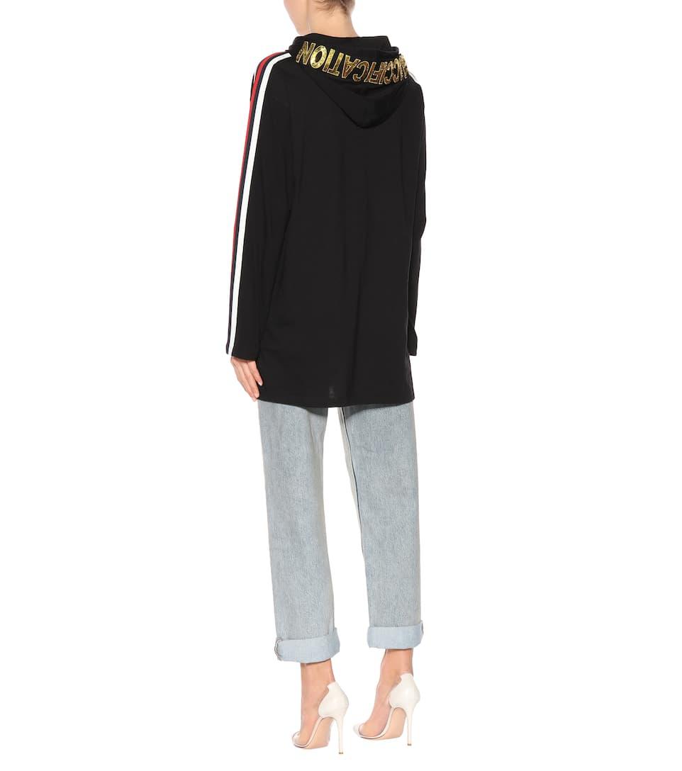 Größte Anbieter Online Gucci Verzierter Hoodie aus Baumwolle Billig Verkauf Ebay Footaction yqY0V