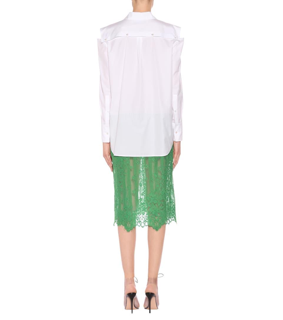 Valentino Hemdblusenkleid mit Baumwollanteil und Spitze Verkauf In Mode 015k7igq5B