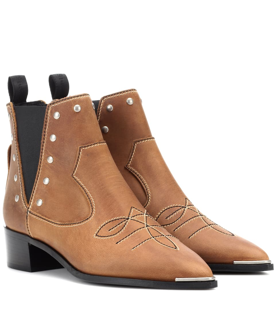 Acne Studios Jexy Studded Leather Ankle Ankle Leather Botas In Marrón  ModeSens 6c7d4e
