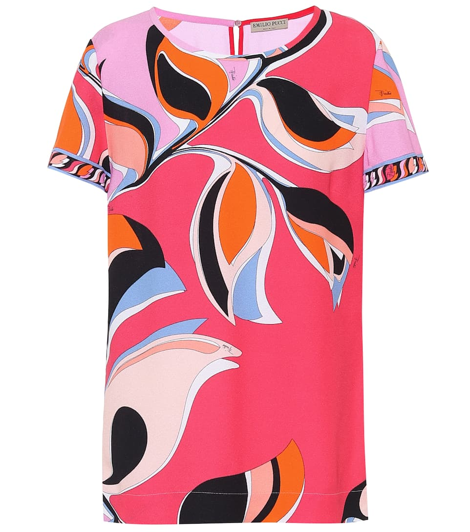 Emilio Pucci Abstract Print Top In Pink