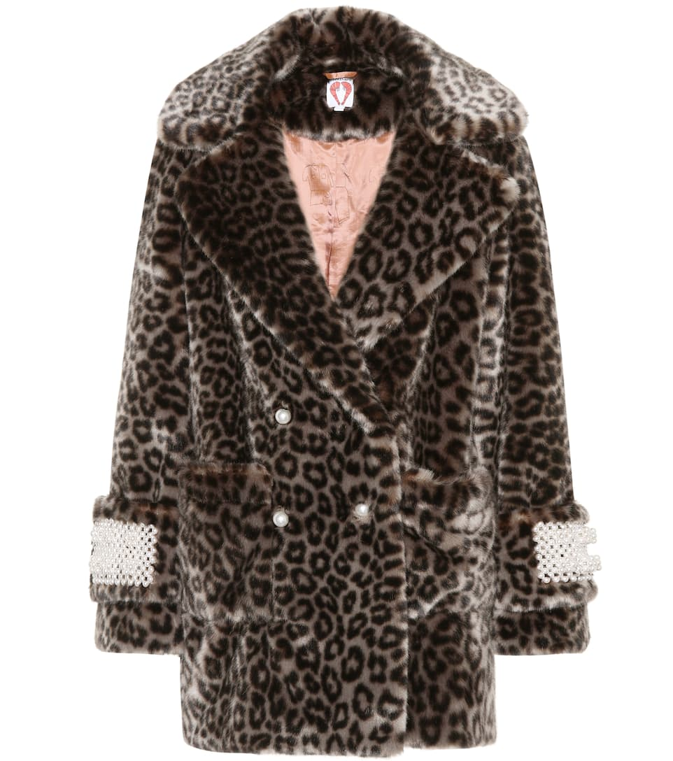Gavin Embellished Faux-Fur Coat in Multicoloured