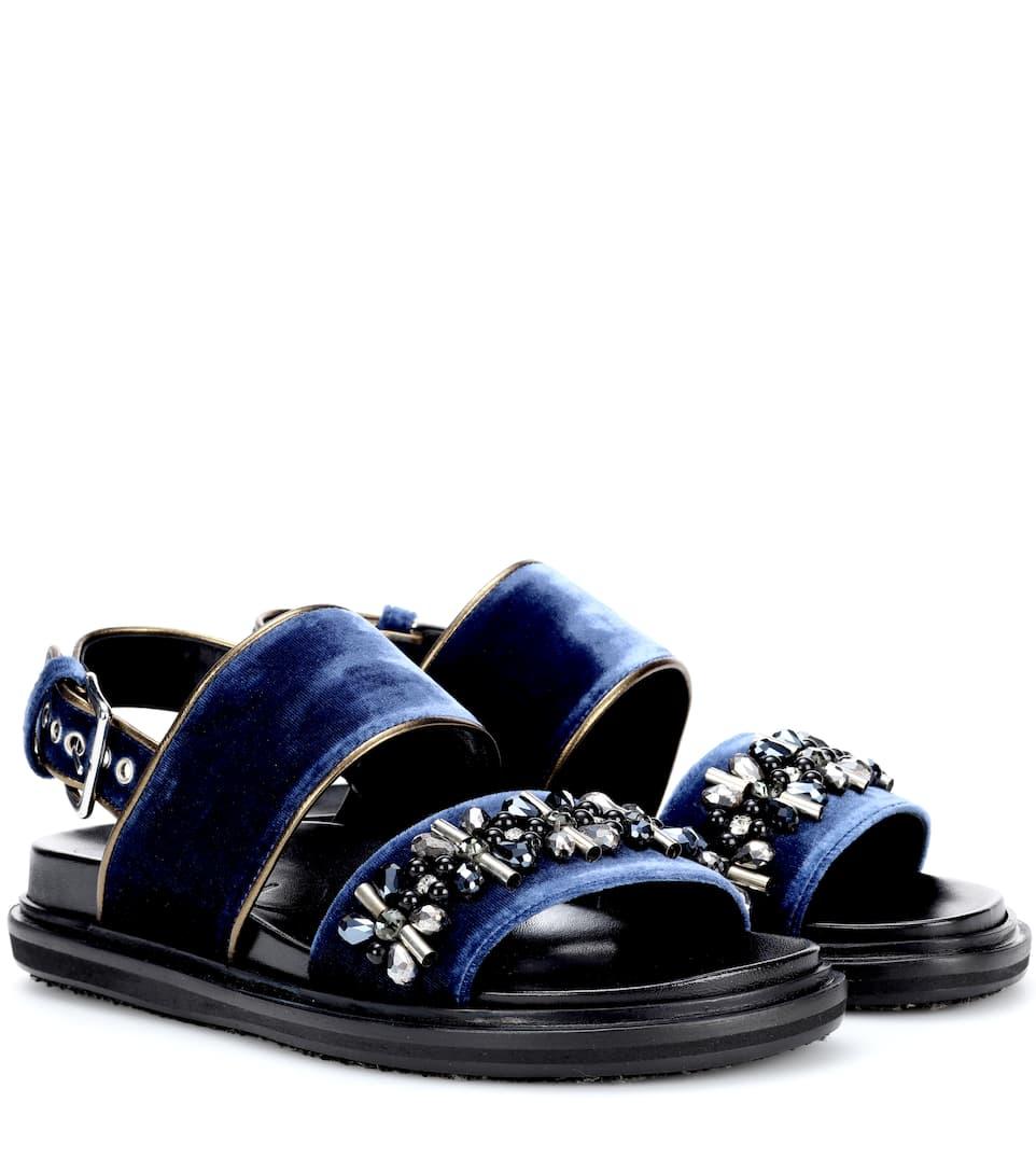 Marni Verzierte Sandalen aus Samt