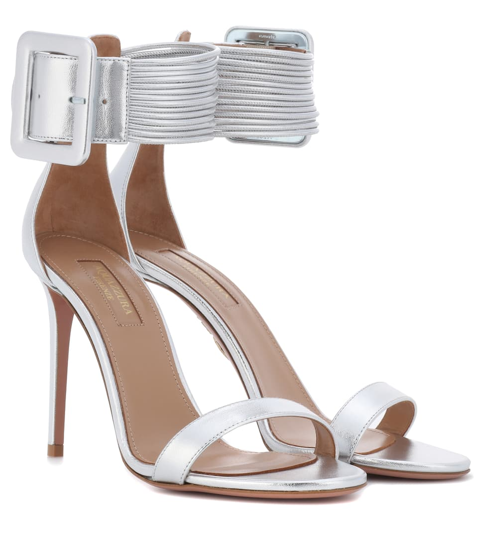 Casablanca Metallic Leather Sandals - Silver Aquazzura Qqwga2VY