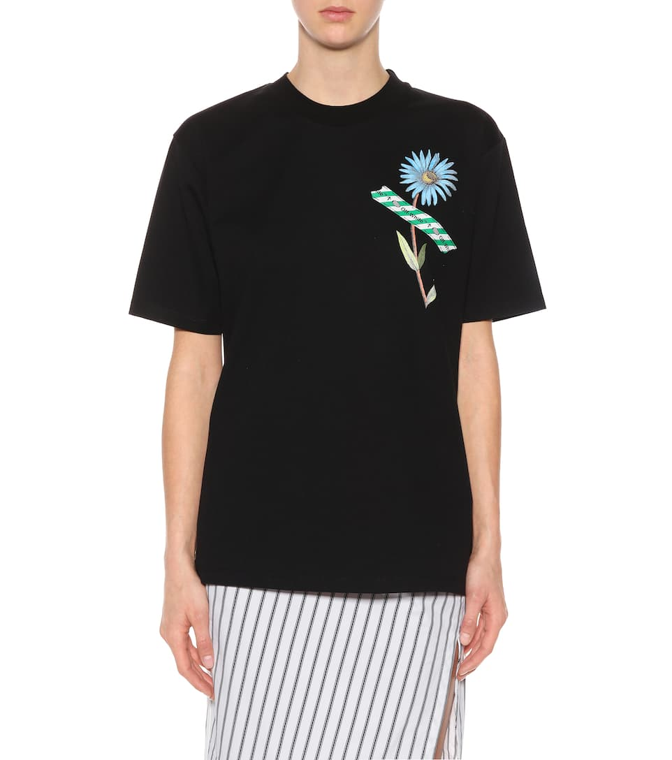 Off-white Printed Cotton T-shirt From A Mixture