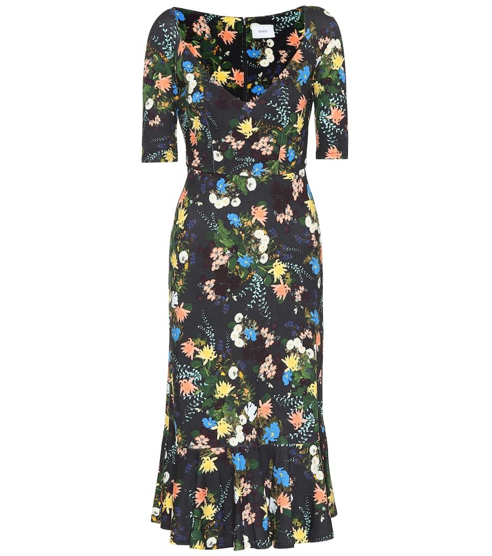 negro multi vestido Erdem floral estampado ZwH6t1