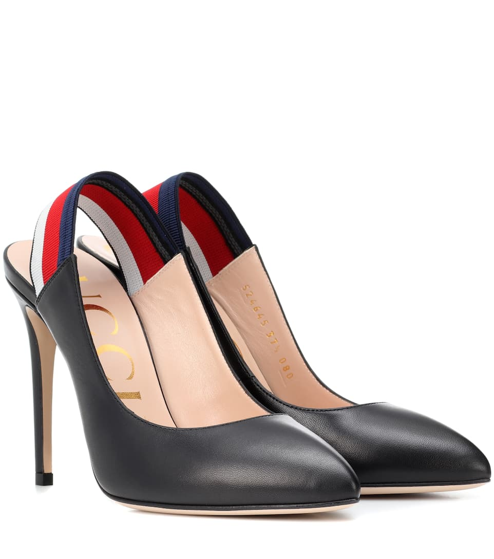 Slingback Leather Pumps by Gucci