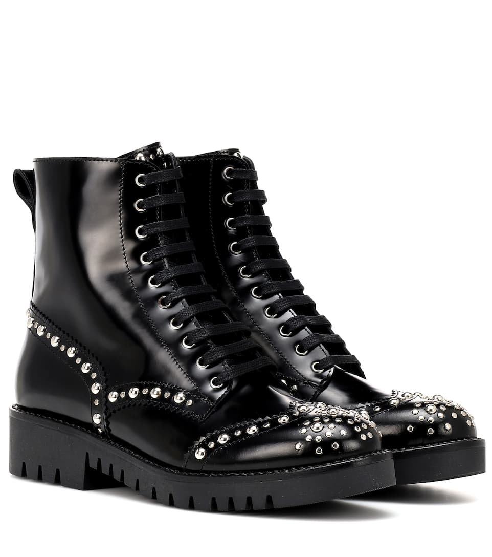 Bess Studded Leather Ankle Boots by Mc Q Alexander Mc Queen