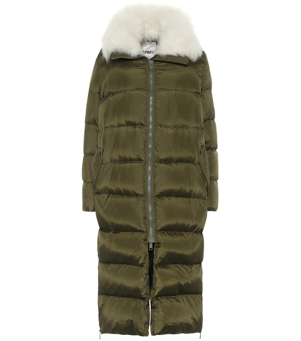 Army shearling trimmed down coat