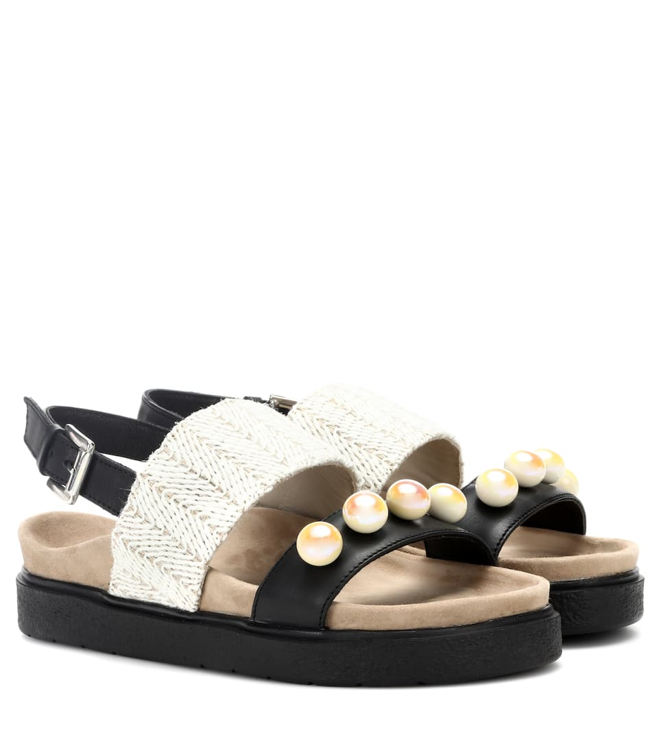 INUIKII Raffia Pearl Leather Sandals in Black