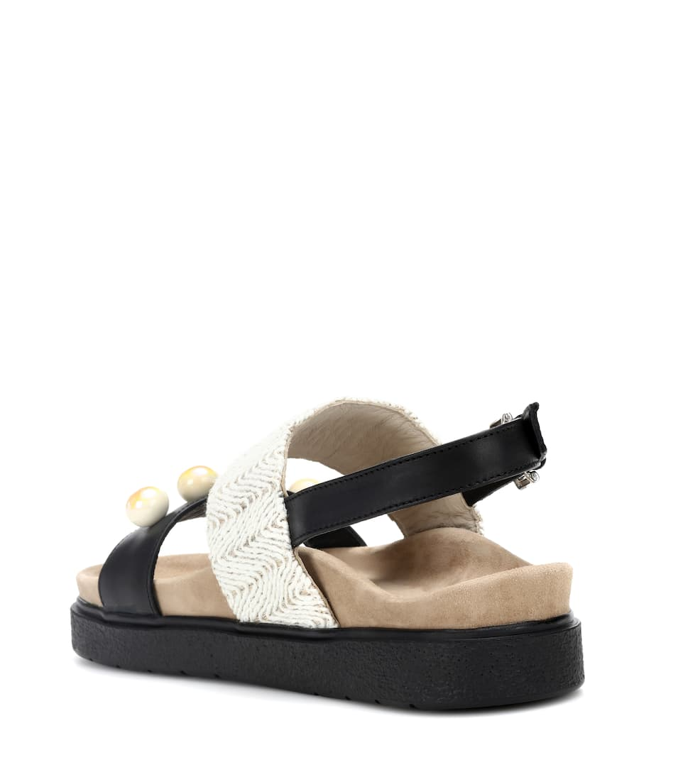 Raffia Pearl leather sandals INUIKII Sale Clearance Store Amazing Price Best Wholesale Sale Online Outlet Cheap Price f3aCi62EEO