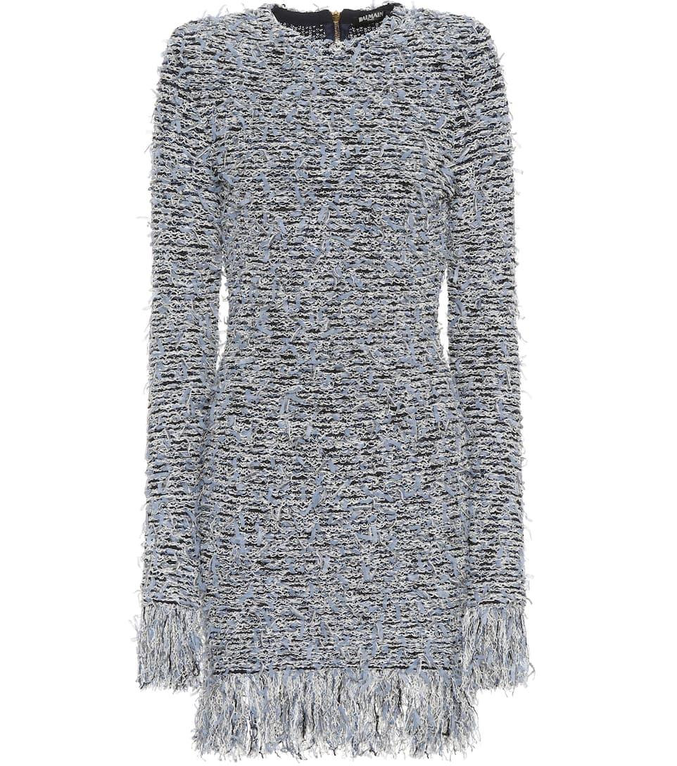 Balmain Kleid aus Tweed mit Fransen