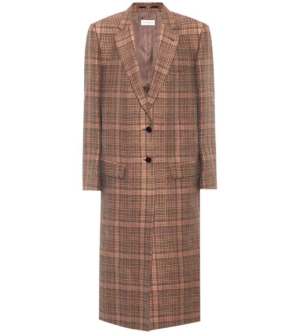 Günstige Top-Qualität Dries Van Noten Karierter Mantel aus einem Baumwoll-Leinen-Gemisch Großer Rabatt 5S31M