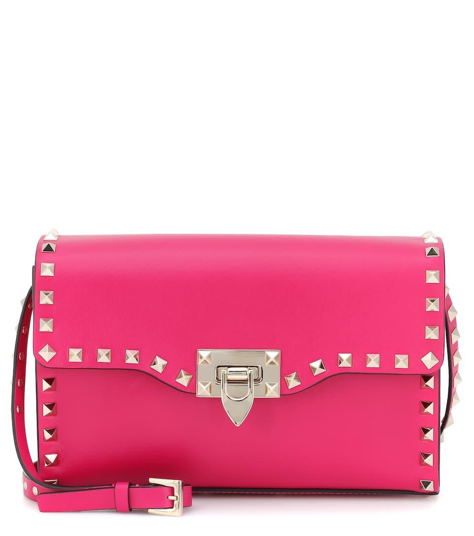de Bandolera Garavani cuero Rockstud Valentino Pink Shadow Valentino Cq4Rtt