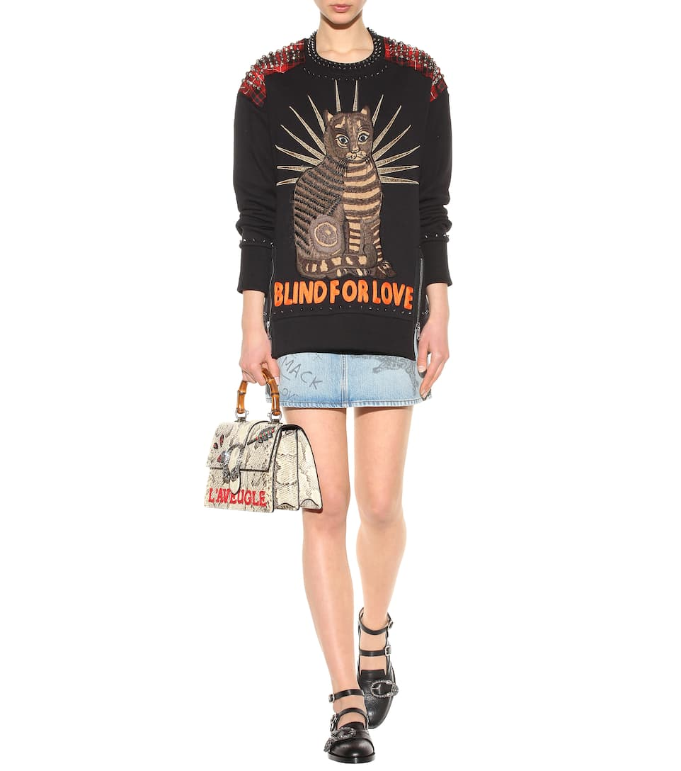 GUCCI Embellished Cotton Sweatshirt in Llack