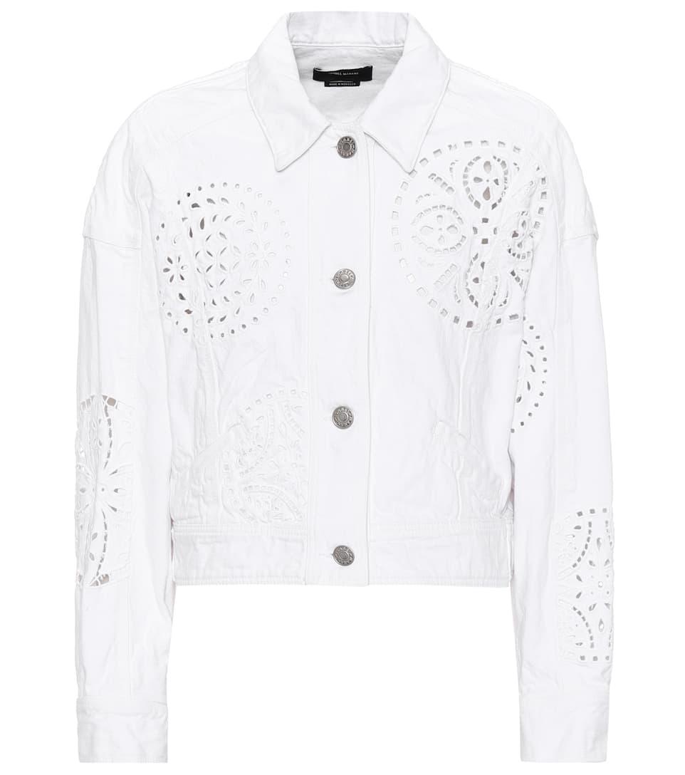 Isabel Marant Rena lace-trimmed denim jacket White Sale Finishline rFtGFOHQIV