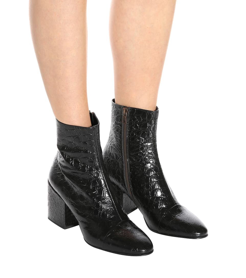 a6bcedc446d Croc-Embossed Leather Ankle Boots - Dries Van Noten | mytheresa.com