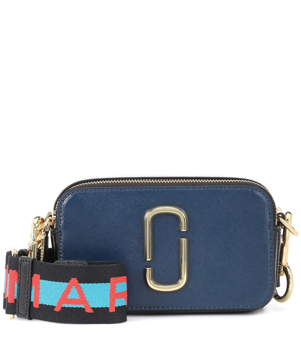 Snapshot Small Leather Camera Bag in 455 Blue Se