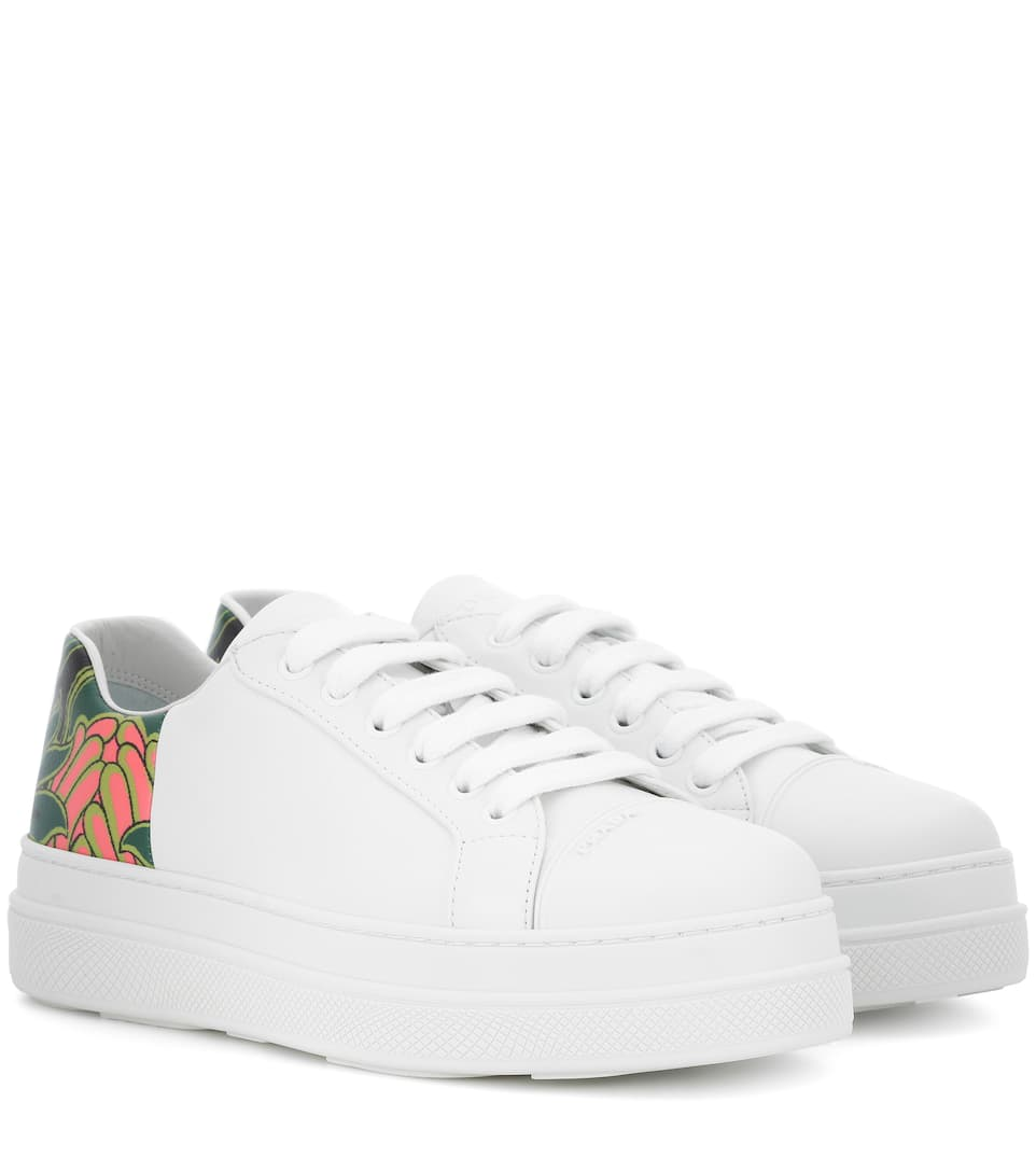 Prada Printed Leather Sneakers In White