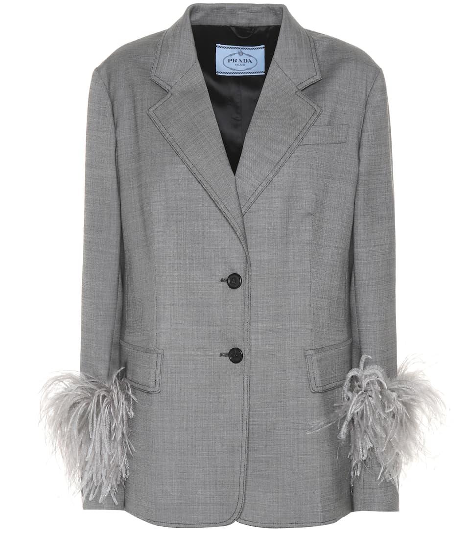Prada Blazer aus Wolle und Seide mit Federn