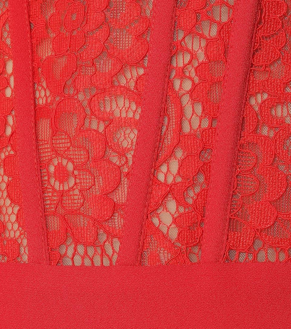RASARIO - Crêpe and lace midi dress
