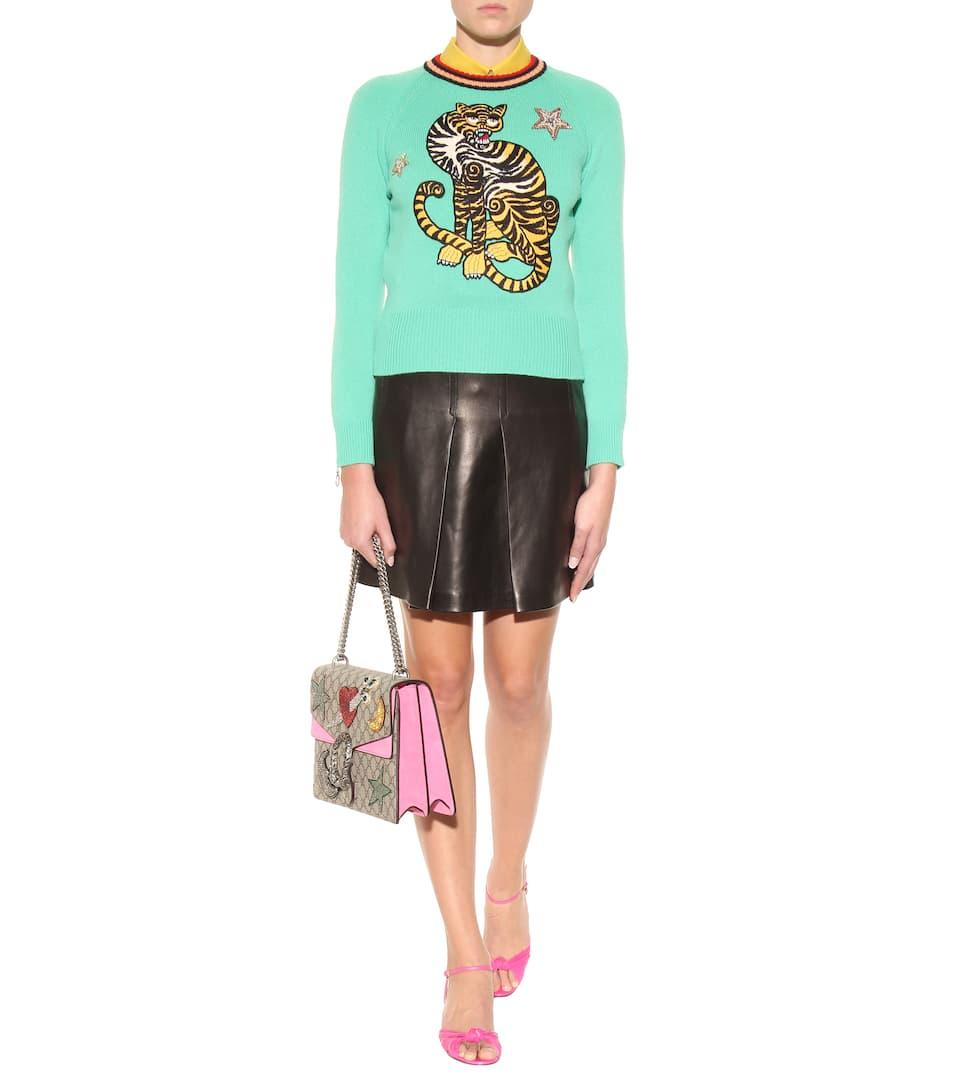 Gucci Verzierte Schultertasche Dionysus GG Supreme mit Veloursleder Günstig Kaufen Angebote EdKrl6k