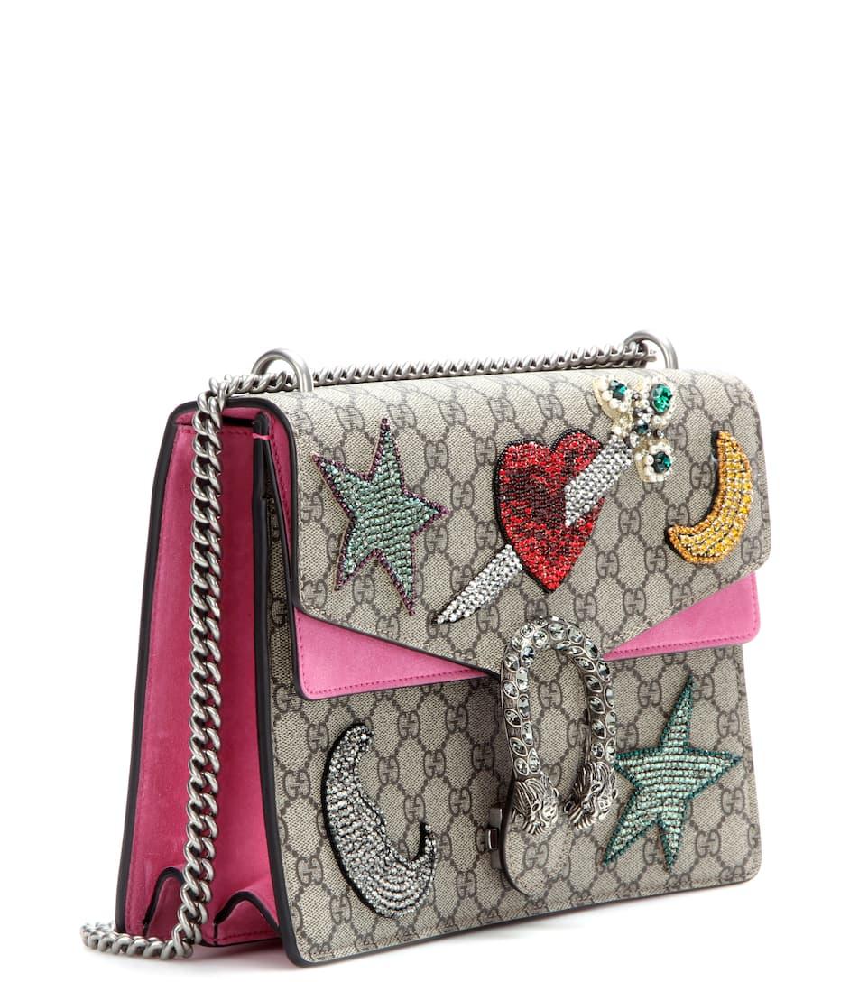 Gucci Verzierte Schultertasche Dionysus GG Supreme mit Veloursleder Günstig Kaufen Bestseller Bester Ort Zum Verkauf tABEVDj