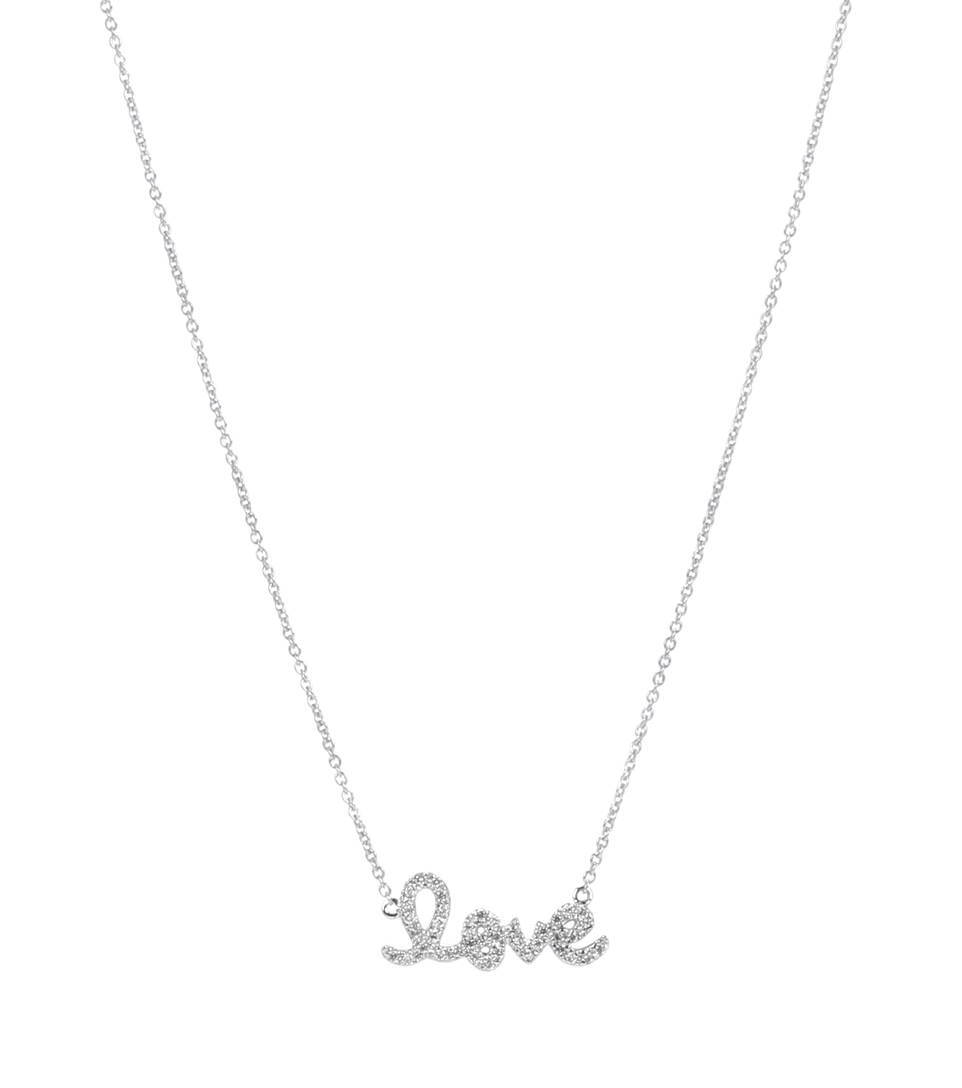Sydney Evan Small Love 14 kt white gold and diamond necklace 2jESq