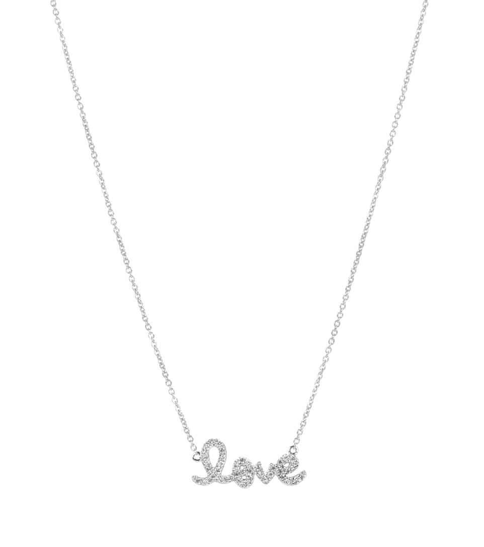 Collier En Or Blanc 14 Ct Et Diamants Love Small - Sydney Evan Bonne Prise Vente 7Stfs
