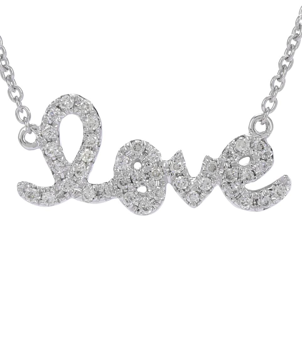 Sydney Evan Small Love 14 kt white gold and diamond necklace r5KOz99e2