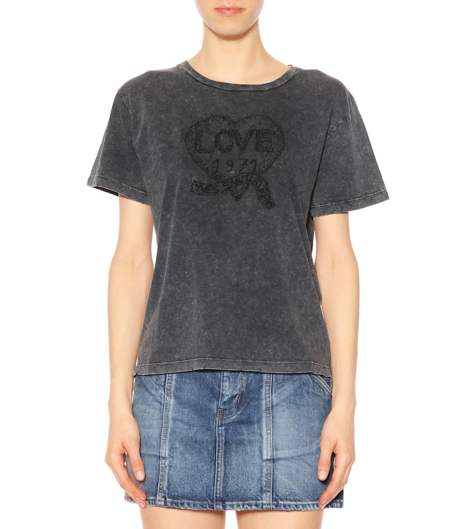 Saint Laurent Cropped T-shirt Made Of Cotton