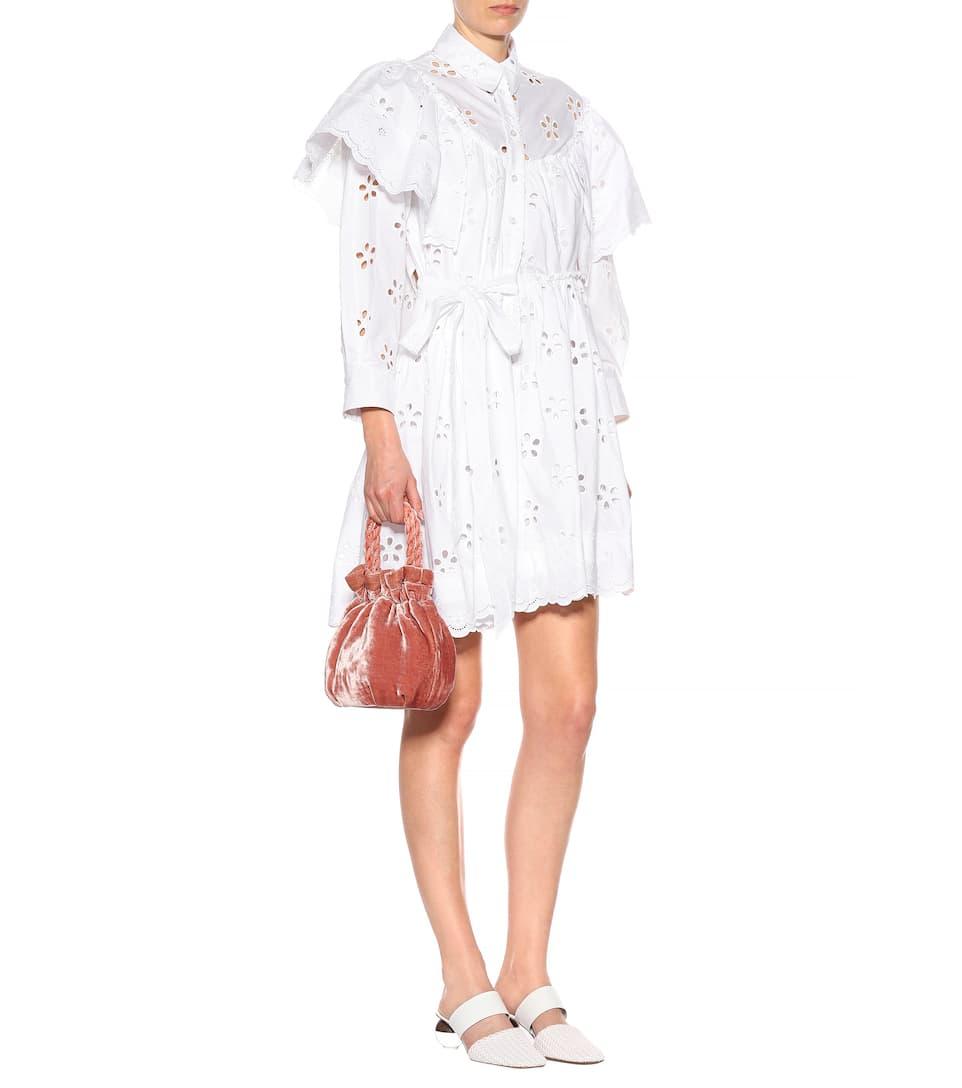 Simone Rocha Minikleid aus Baumwolle mit Lochstickerei