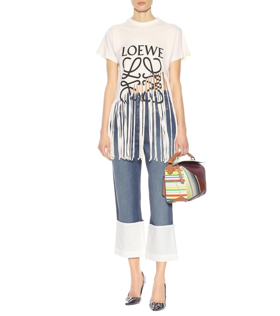 Loewe Bedrucktes T-Shirt mit Fransen aus Baumwolle und Seide