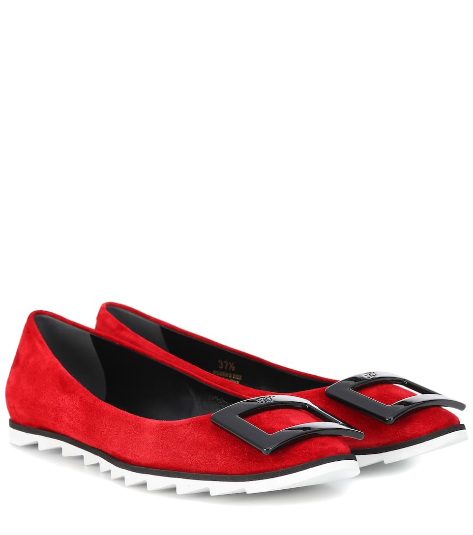 Roger Vivier Viv' Gommette suede ballet flats Red Cheap Sale Clearance Classic Cheap Price Clearance 2018 Sast Cheap Price Free Shipping Best Place DtY2z5