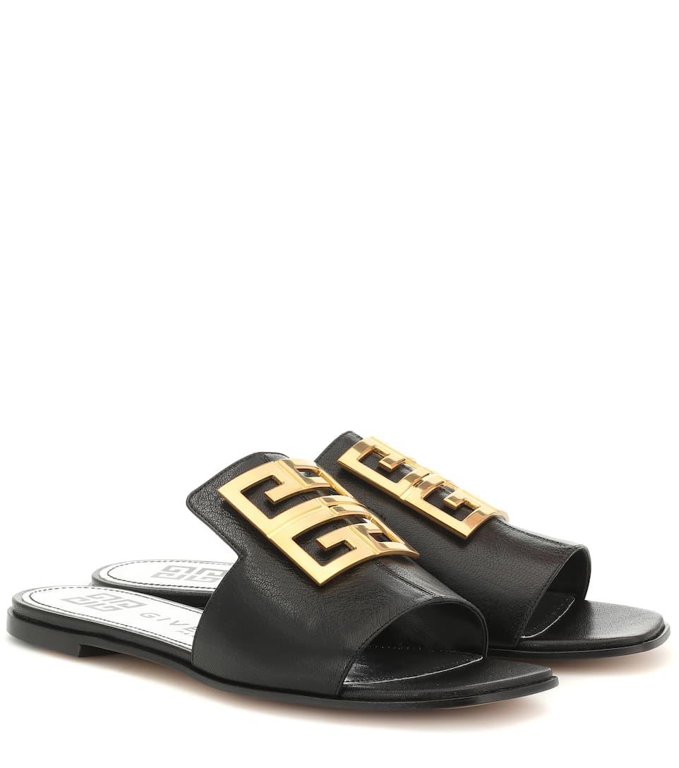 Givenchy 4g Logo-embellished Leather Sandals In Black