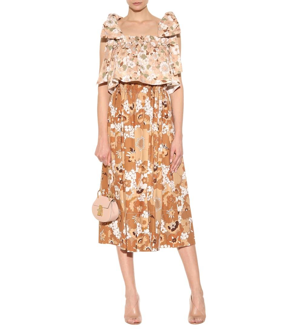 CHLOÉ Printed Cotton Midi Skirt