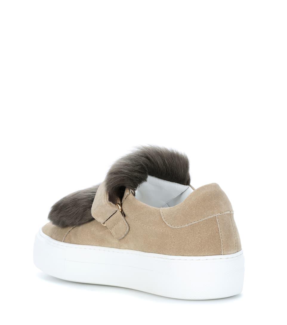 Moncler Sneakers aus Veloursleder mit Lammfell