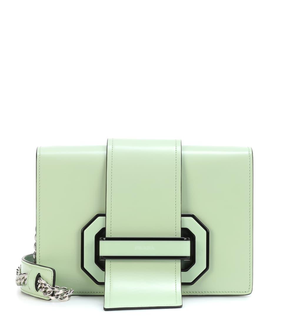 Prada Schultertasche Plexi Ribbon aus Leder