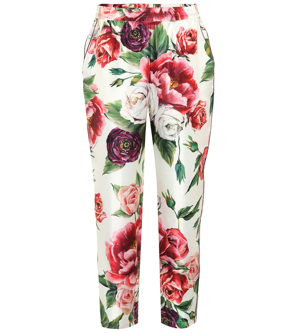 Peony-Print Cady Jogging Pants in White