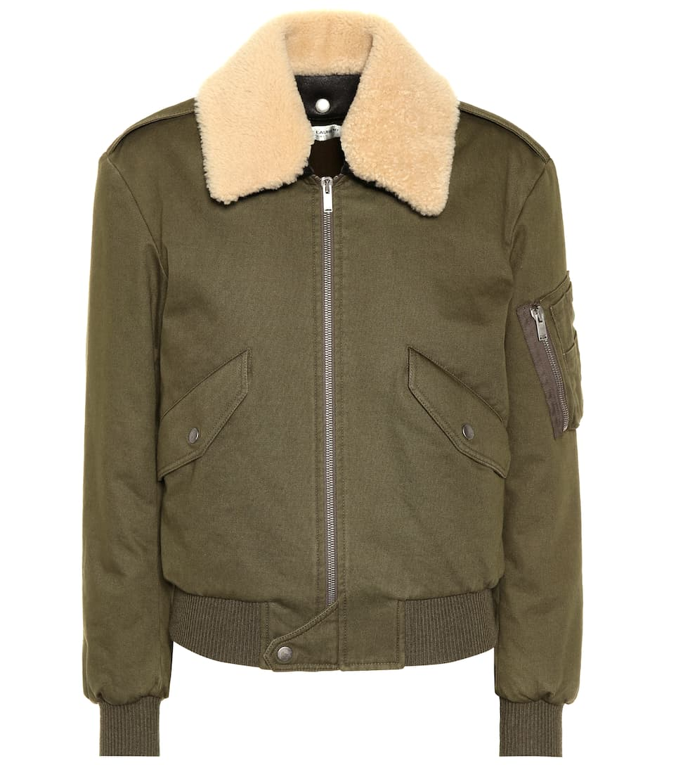 Laurent bordado color chaqueta ribete caqui Saint con bomber A8F1wx